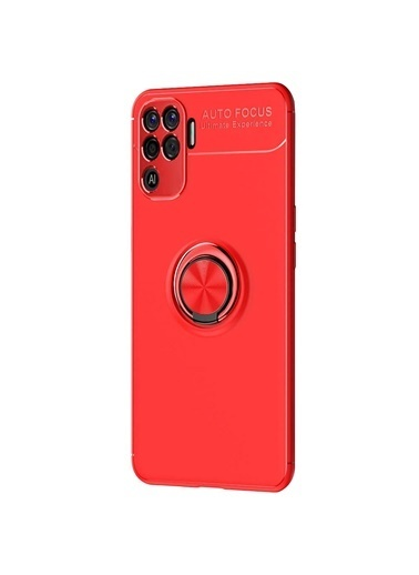Microsonic Oppo Reno 5 Lite Kılıf Kickstand Ring Holder Kırmızı Kırmızı